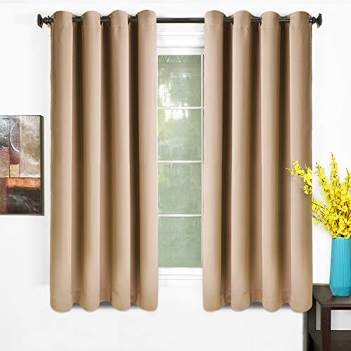 TEKAMON 99% Blackout Curtains Thermal Insulated Solid Grommet 2 Panels Set Draperies, Room Darkening Panels for Living Room, Bedroom, Nursery (W52 X L63 per Panel, Warm Camel)