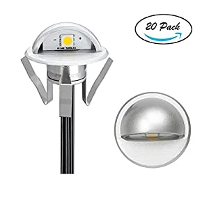 "Pack of 20 Low Voltage LED Deck Light Kit Φ1.38"" Waterproof Outdoor Step Stairs Garden Yard Patio Landscape Decor Lighting Warm White Lamp"