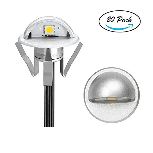 Pack of 20 Low Voltage LED Deck Light Kit Φ1.38'' Waterproof Outdoor Step Stairs Garden Yard Patio Landscape Decor Lighting Warm White Lamp by FVTLED