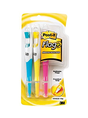 Post-it Flag+ Highlighter, Yellow, Pink, and Blue, 50-Color Coordinated Flags/Highlighter, 12-Pack