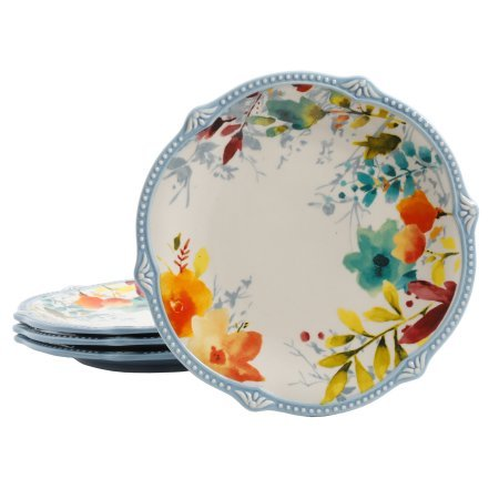 (8.75-Inch Willow Salad Plates in Joyous Floral Design, Set of 4)