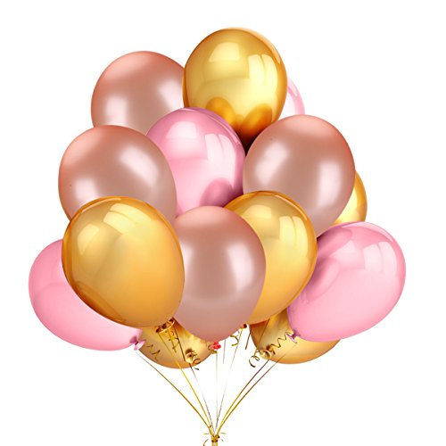 50 Pack 12 Inch 2.8g/pc Thicken Round Metallic Pearlescent Latex Balloons - Shining Gold & Rose Gold & Pink Color Latex Party Balloons Party Decorations Supplies