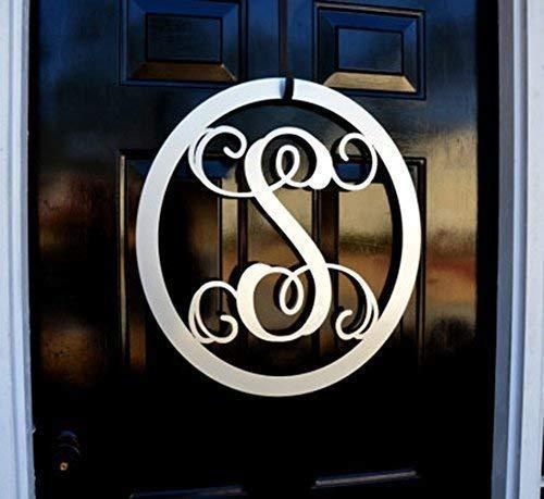 Metal Monogram Letter, Monogram Wreath, Door Hanger Monogram, Metal Monogram Letter, Oval Monogramed Wreath, Wall Art