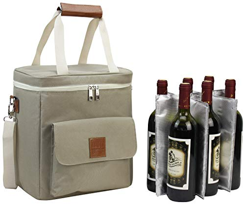 Wine Carrier 6 Bottle Capacity | Highest Quality Wine Cooler Bag for Wine Lover Gifts for Travel Beach and Picnic | Insulated Wine Tote Bag with Handle and Shoulder Strap | Padded Wine Cooler Bag
