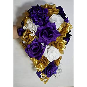 Purple Gold White Rose Cascading Bridal Wedding Bouquet & Boutonniere 24