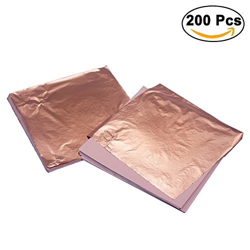 Rose Gold Leaf for Arts 200 Sheets Imitation , Gilding Crafting, DIY Art Crafts Decoration, 5.5 by 5.5 Inches (5.55.5 in/Rose gold)