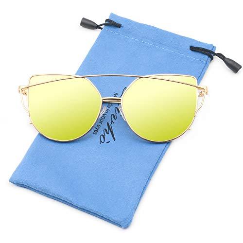 (Livhò Sunglasses for Women, Cat Eye Mirrored Flat Lenses Metal Frame Sunglasses UV400 (Gold Green))