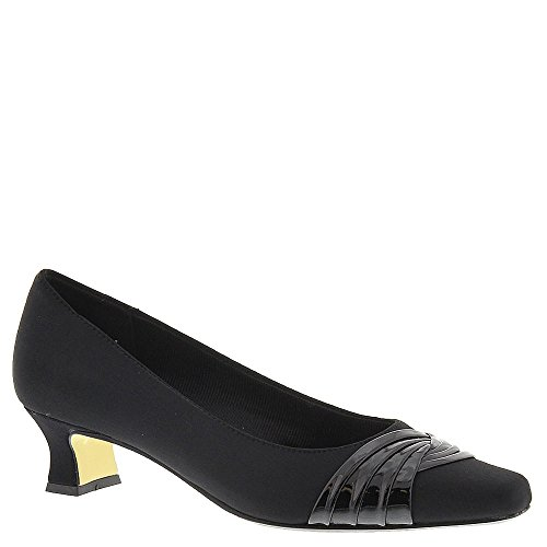 Easy Street Women's Tidal Dress Pump,Black Micro/Patent,8 WW (Canvas Pump Heels)
