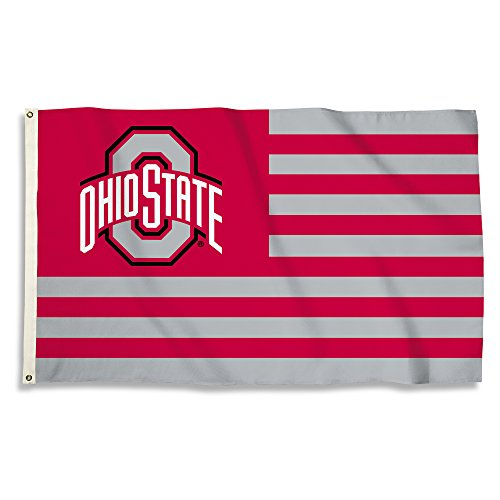 NCAA Ohio State Buckeyes 3' x 5' Flag with Grommets, Red & Team Color,