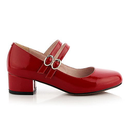 1TO9Mms05816 - Sandali con Zeppa donna, Rosso (Red), 35