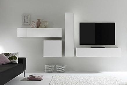 parete attrezzata sospesa porta tv bianco lucido pensili cubi ...