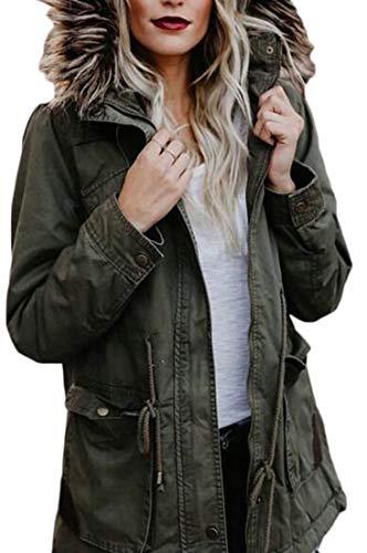 Down Warm Women EKU Lined Coats Outdoor Parka Green Faux Winter Fur Hoodie 7qdHaTS