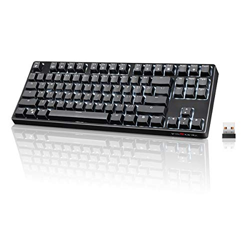 Wireless Mechanical Keyboard, VELOCIFIRE TKL02WS 87 Key Tenkeyless Ergonomic with Quiet Brown Switches, and White LED Backlit for Copywriters, Typists, and Programmers (Best Wireless Mechanical Keyboard For Mac)