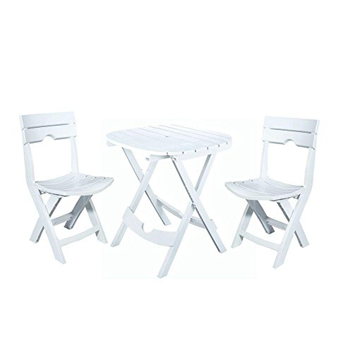Adams Manufacturing Weather Resistant Lightweight Durable Resin Comfortable Sturdy Outdoor Recreation Quik-Fold 3-Piece Patio Cafe Bistro Set (White) (Adams Manufacturing Quik Fold Cafe Bistro Set)