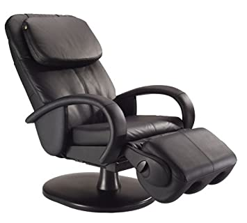 black leather massage chair. human touch ht-125 robotic massage chair, black leather chair e