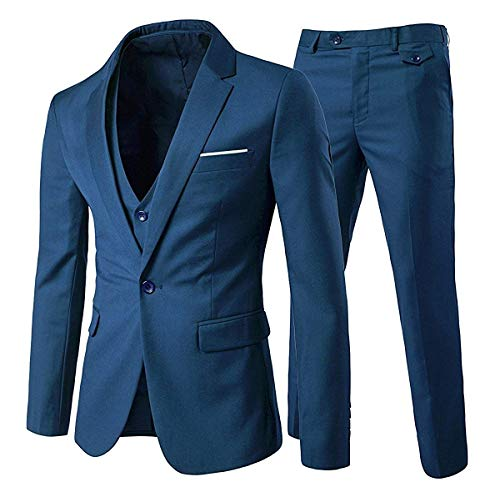 (Mens Notch Lapel Modern Fit Suit Blazer Jacket Tux Vest and Trousers Set Three-Piece,Blue,Small )