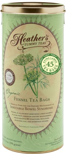 Heather's Tummy Teas Organic Fennel Tea Bags (45 Jumbo Teabags) for IBS, 8.82 Ounce from Heather's Tummy Care