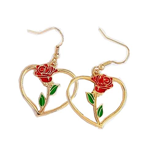 i&D Jewelry Gold Plated Heart Earrings Simple Dangle Earrings Red Rose Flower Drop Earrings for Girls (Gold Red)