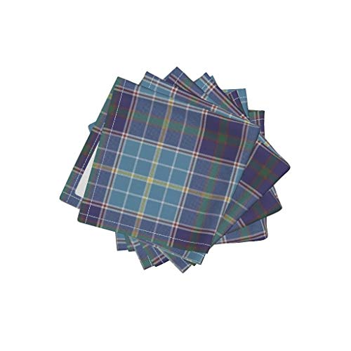 Roostery Texas Tartan Organic Cotton Sateen Cloth Cocktail Napkins - Texas State Tartan Plaid Bluebonnet Blue Bonnet by Weavingmajor (Set of 4) 10 x 10in