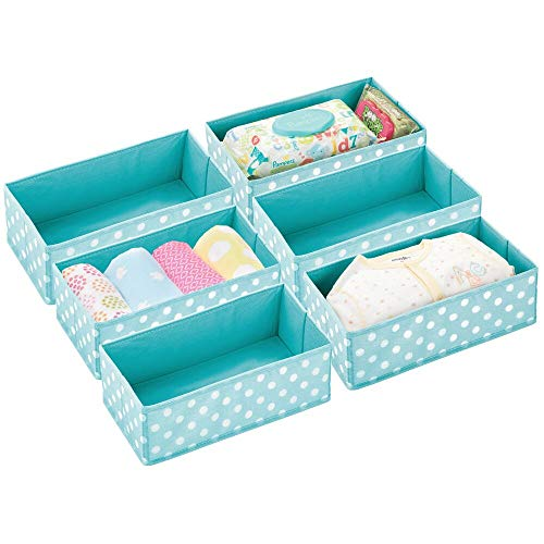 mDesign Soft Fabric Dresser Drawer and Closet Storage Organizer for Child/Kids Room or Nursery - Roomy Open Rectangular Compartment Organizer - Fun Polka Dot Pattern, 6 Pack - Turquoise/White Dots ()