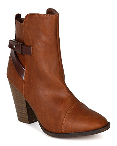Breckelles BF77 Women Leatherette Criss Cross Strap Chunky Heel Ankle Bootie Tan