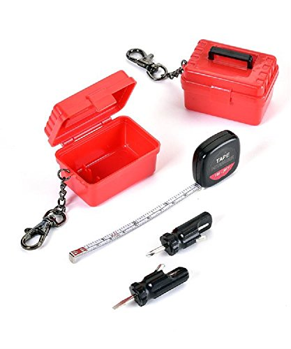 Price comparison product image Mini Red Toolbox Keychain 4 Piece Kit Set
