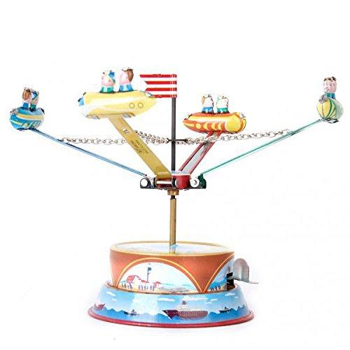 ノーブランド品 2台 金属製 回転 宇宙船モデル ぜんまい おもちゃ 子供 贈り物