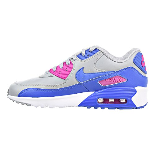 NIKE Kids Air Max 90 LTR GS, Wolf Grey/Comet Blue-Fire Pink, Youth Size 4