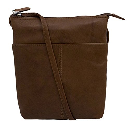 ili Leather 6661 Midi Sac Crossbody Handbag with RFID Lining (Toffee)