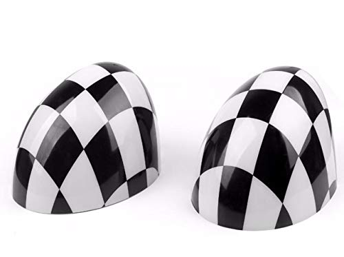 US Warehouse - Car Rearview Side Mirror Cover Cap for MINI Cooper Hardtop 2014 F55 & 2015 F56 ABS plastic Car Styling - (Color: Checkered)
