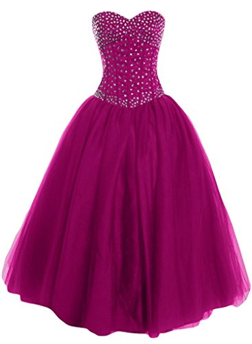 New 2016 Long Quinceanera Bride Tulle Satin Fuchsia Prom Sweetheart and Angel Dress Gown qEOZpxZ