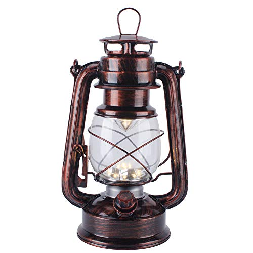 Vintage LED Hurricane Lantern with Dimmer Switch and 15 LEDs, Warm White Electric Kerosene Lamp Battery Operated, Hand-Painted Black and red Metal Hanging Lantern for Indoors and Outdoor -