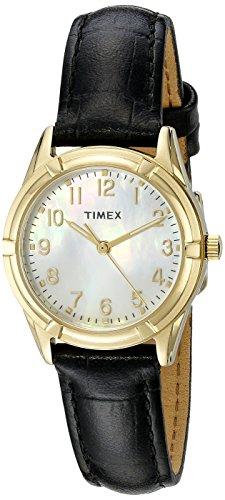 Timex Women Easton Avenue | Black Leather Strap Gold-Tone Case Dress - Leather Pearl Black Dial
