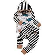 Toddler Newborn Baby Girl Boy Outfits Long Sleeve Hooded Sweatshirt Stripe Pants Winter Clothes Set