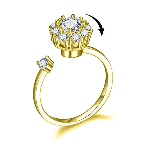 Bling Toman Spinny Ring for Anxiety Gold Plated Tension-Mount Rings Adjustable Wedding Band Open Engagement Rings (Gold Band Ring) ()