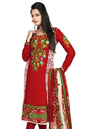Fabdeal Women's Indian Designer Wear Embroidered Salwar Red