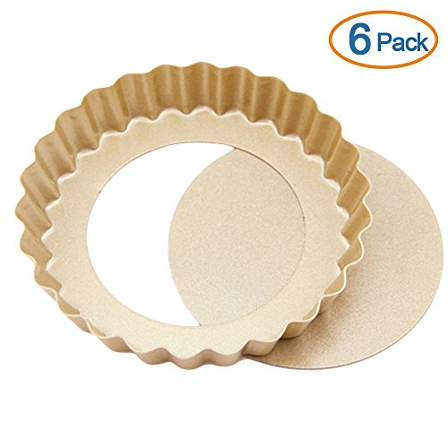 LOHOME® Quiche Pan, Set of 6 PCS Bakeware Nonstick Tart/Quiche Pans Cupcakes Torte Souffle Cheesecake Egg Tart Makers Cake Molds Baking Molds Gourmet Bakeware Sets (4 Inch Round Tart) (Tin Tartlet Fluted)