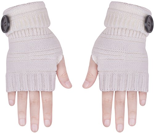 Glove Fingerless for Men Women Winter Warm Thumb Holes Gloves Mitten Solid Color