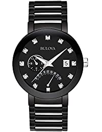 Men's 98D109 Diamond-Accented Black Stainless Steel Watch