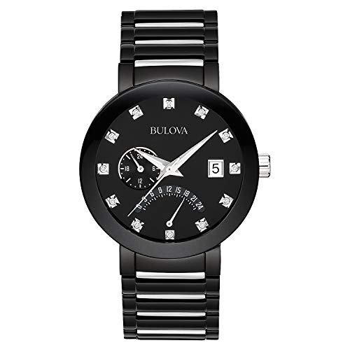 Bulova Diamond Black Dial - Bulova Men's 98D109 Diamond-Accented Black Stainless Steel Watch