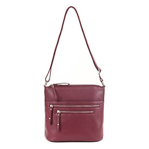 GAL Genuine Leather Triple Compartment Zip Handbag - Bayberry