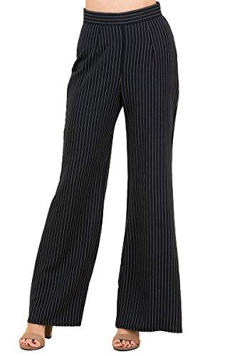 SWTD Women's Pinstripe Ease In To Comfort Trouser Wear To Work Knit Dress Pant (BLACK-H44207, (Pinstripe Spandex Trousers)