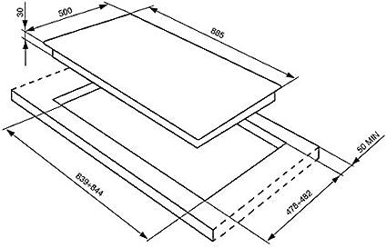 Smeg SRV 596 GH5 Plaque de Cuisson Gaz Int/égrable 88,5 cm Inox