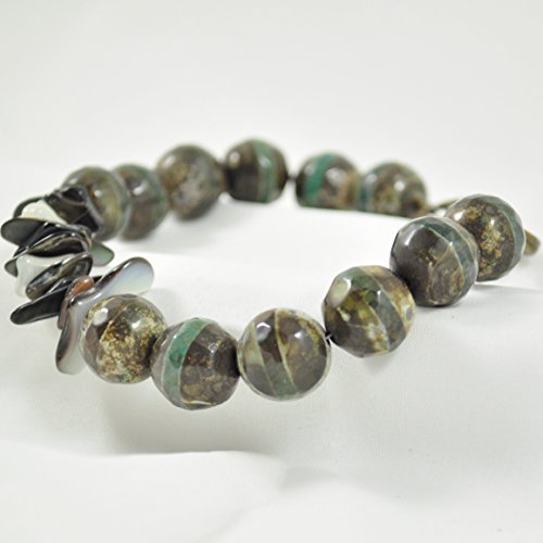 Mens Beaded Tibetan Agate Bracelet with Shell Chips