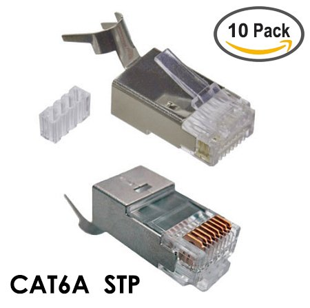 CAT6A STP RJ45 Shielded Modular Plug - 10 Pieces