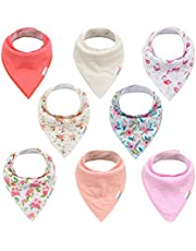 ALVABABY Bandana Drool Bibs 8 Pack Of Drooling Teething Feeding Super Absorbent 100% Cotton Bibs Unisex Floral Bibs For Girls