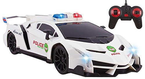 (Police RC Car Toy Super Exotic Large Remote Control Sports Car with Working Headlights, Police Lights, Race Car Toy (White))