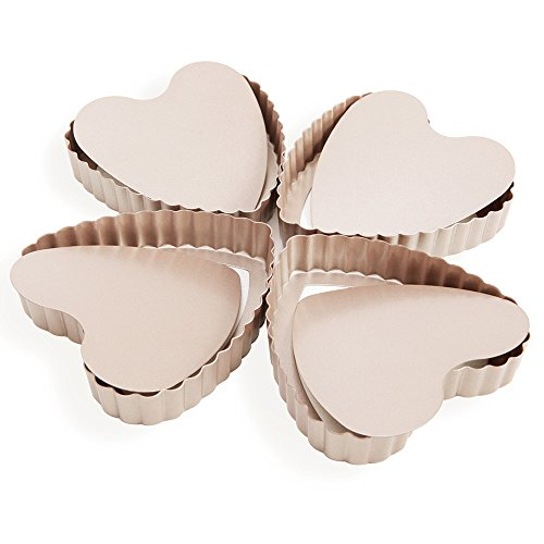 Heart Shape Fluted (Mini Egg Tart Pan Set, iPstyle 4 Inch Non-stick Heart Shape Fluted Quiche Pan Removable Loose Bottom [4 Pack] (Tart Pan))