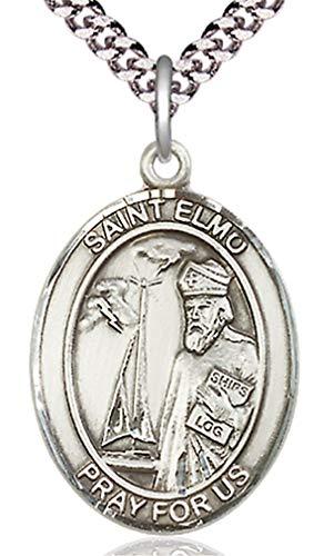 Heartland Store Men's Pewter Oval Saint Elmo Medal + 20 inch Rhodium Plate Chain & Clasp (Medal Elmo St)