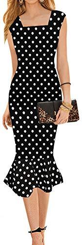 LunaJany Women's Vintage Midi Sheath Business Causal Office Party Wiggle Dress XLarge Black+Polka ()